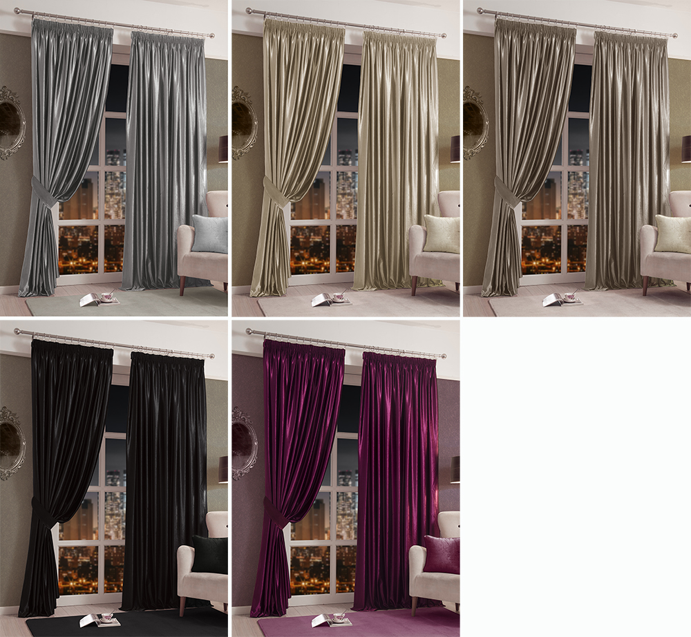 Chantal Faux Velvet Pair Of Lined Tape Curtains Various