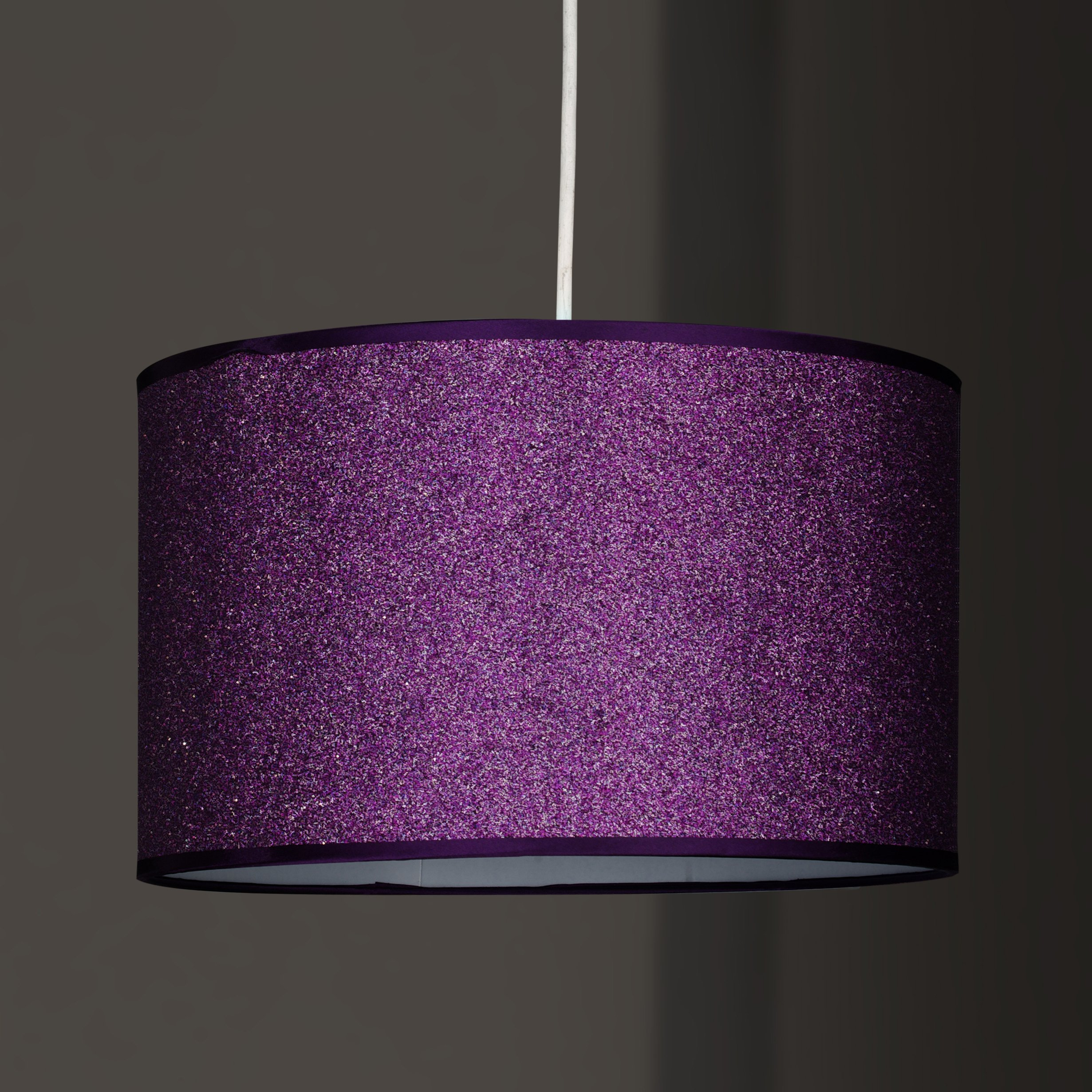 Glitter Shiny Ceiling Light Shade Pendant Non Electric Easy Fit Option In Red Purple Silver Or Pink Lights And Linen